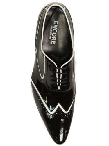Fiesso Men Black White Patent Leather WingTip Pointed LaceUp Formal Dress Shoe