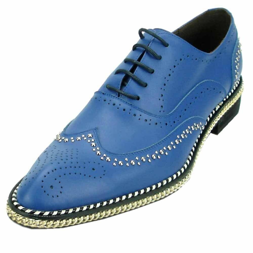 oro De Piel Azul Hombres Fiesso Tachonado cadena punta del ala Fondo Rojo Laceup Oxford Zapato