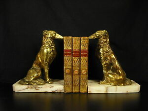 Serres-livres-Borzois-or-Russian-Wolfhounds-Bookends-Buchstutze-2kg-amp-H-16-cm