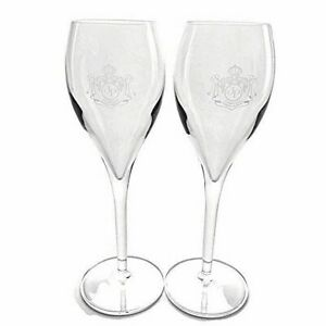 2 Joseph Perrier Champagne Flutes Toasting Glasses 4 oz Clear Etched