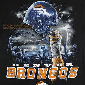 DENVER BRONCOS SKY HIGH TEE SHIRT HOLDING HELMET NFL FOOTBALL BLACK ... 14a68007a