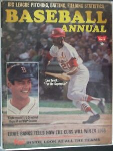 Image Is Loading 1968 Baseball Annual St Louis Cardinals Lou Brock