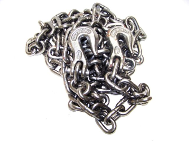 """3/8"""" X 20ft H D Tow Chain With Hooks Towing Pulling Secure Truck Cargo Chains"""