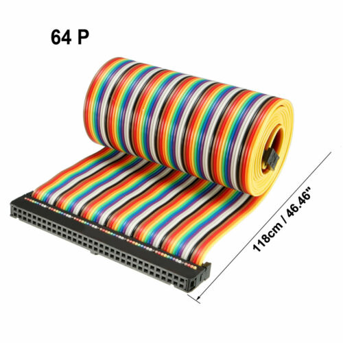 IDC 10-64Pins Flexible Rainbow Ribbon Jumper Cable 2.54mm Pitch Female Connector