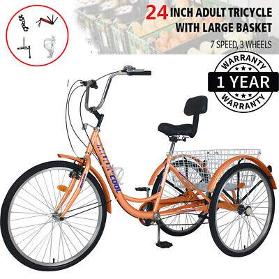 Adult Tricycle 24/'/' 7-Speed 3 Wheel Cyan Trike Shopping Bike Riding with Basket