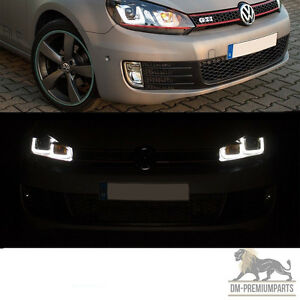 vw golf 6 vi led scheinwerfer set 08 12 rote leiste 3d u. Black Bedroom Furniture Sets. Home Design Ideas