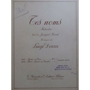 DENZA Luigi Tes Noms Chant Piano 1924 partition sheet music score