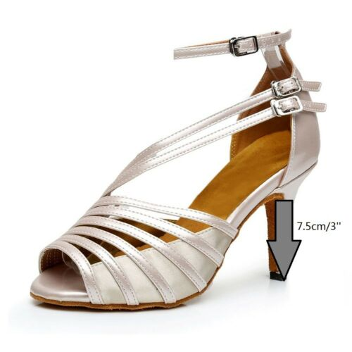 Latin Dance Shoes Women Beige Ballroom Dancing Shoes 3/'/' Med Heels Salsas Shoes