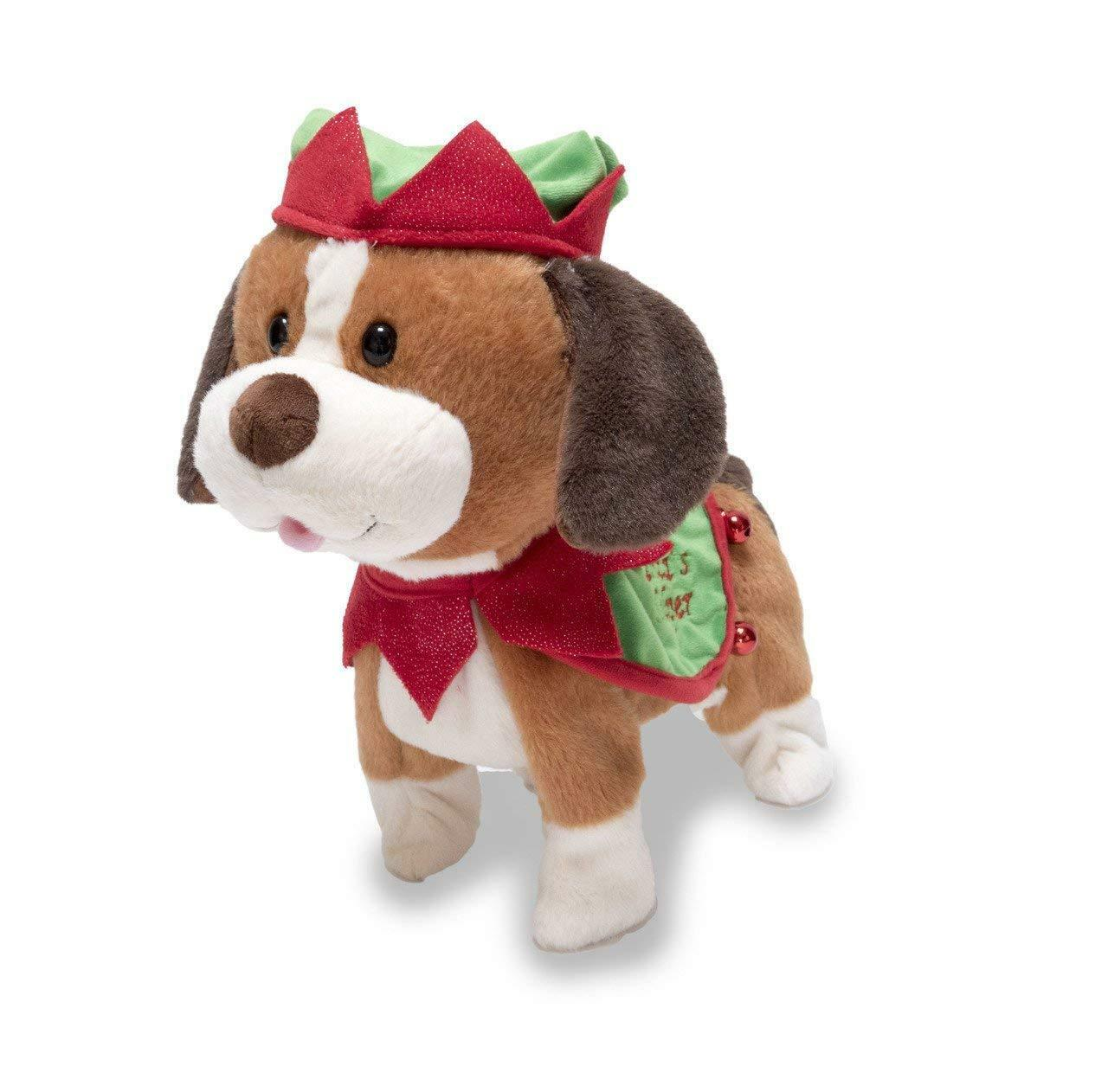 Cuddle Barn H8 Animated Christmas Plush Singing Toy 10in - Santa's Helper Puppy
