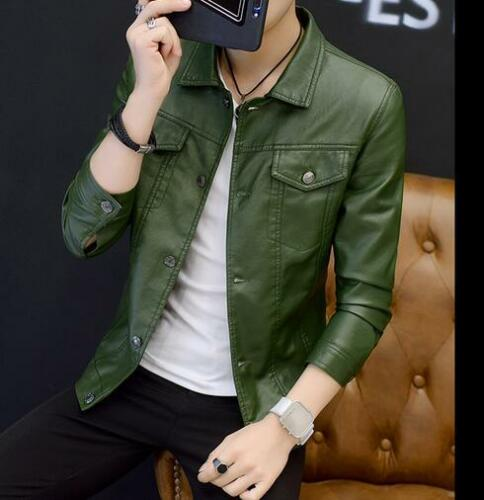 Men/'s Jackets PU Leather Coat Parka Casual Motorcycle Punk Clothes Fashion E166