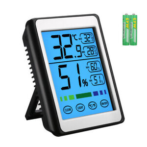 Indoor Room LCD Digital Thermometer Hygrometer Temperature Humidity Touch Screen