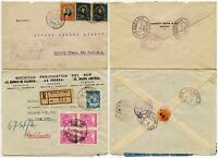 CHILE REGISTERED HANDSTAMP + ETIQUETTE 1916 + 1929 to USA