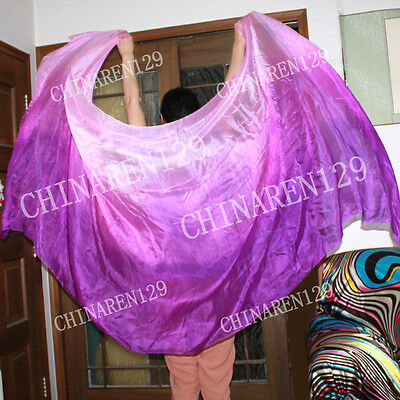 HAND TIE-DYE BELLY DANCE 100% SILK VEILS three color purple to light purple