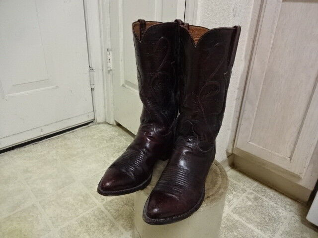 VINTAGE LUCCHESE COWBOY BOOTS MEN 8 EE WESTERN