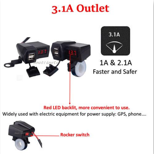 LED Voltmeter USB Charger For Honda VTR VFR VF 1000 750 800 Interceptor Magna US