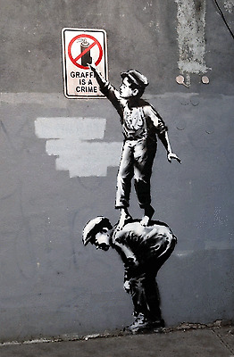 "Banksy -  ""Graffiti is a crime-24""x36"" Canvas Print Urban Graffiti"