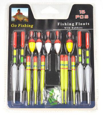 15pcs assorted Sizes Lot Fishing Lure Floats Bobbers Slip Drift Tube Indicator J