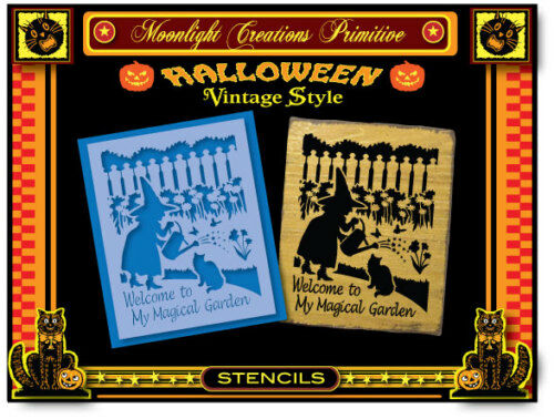 Stencil~Welcome to My Magical Garden~Classical Vintage 1940s Halloween Style