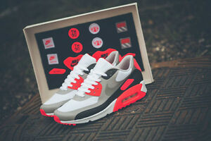 nike men's air max 90 infrared patch sp white infrared trainer