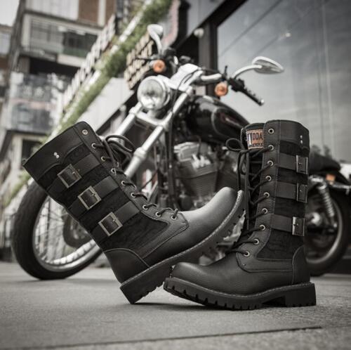 Mens Combat Punk Rock Boots Gothic Mid-Calf Lace-up Biker Leather Buckle Shoes