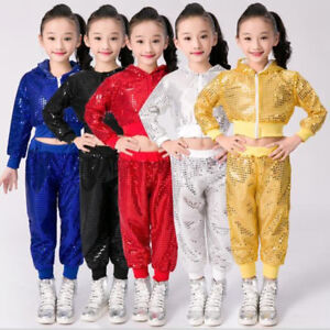 Children-039-s-New-Hip-Hop-Jazz-Sequins-Performance-Costumes-Dancewear-Top-amp-Pants