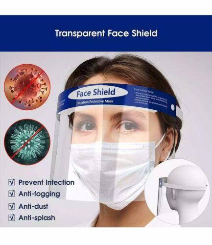 Safety Full Face Shield Clear Protector.Anti-Fog,Anti-Virus,Anti-Splash . 20 Pcs