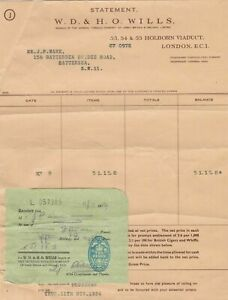 W.D. & H.O. Wills 1954 Branch of Imperial Tobacco Co. Stamp Receipt Ref 32720