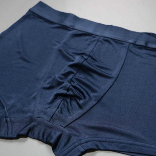 Men Knit Pure Silk 100/% Boxer Brief Underpants Trunks Shorts Underwear Stretch