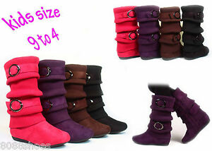 Girl's Kid's Cute Sweater Top Low Flat Heel Zipper Boot Shoes NEW ...
