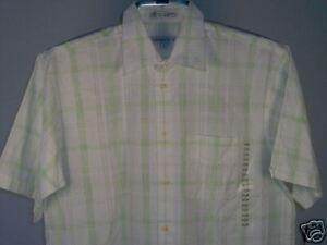 Geoffrey-Beene-Camp-Shirt-White-Green-Yellow-L-Men-039-s-Clothing-New