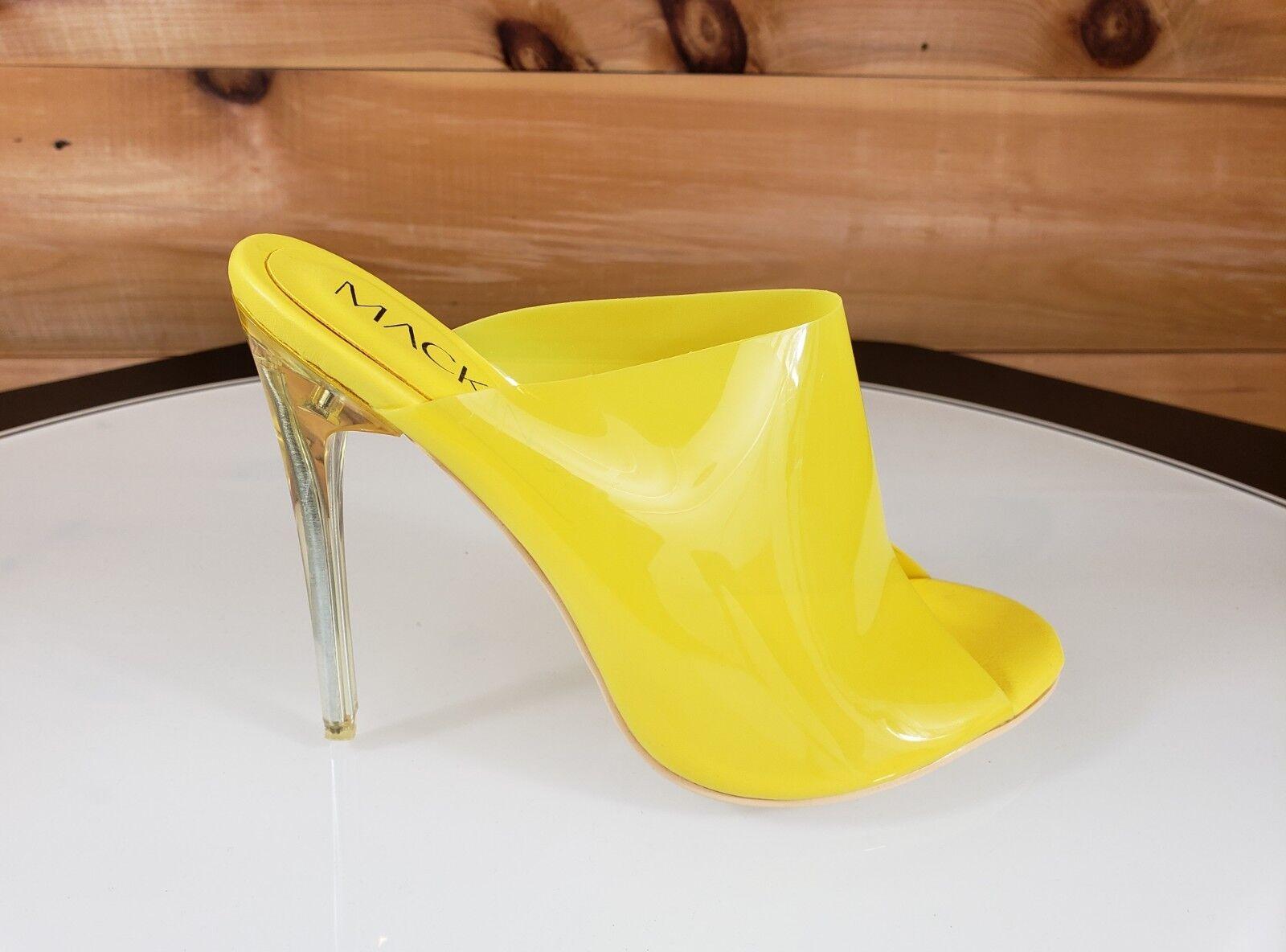 Mac J Opaque Yellow Open Toe Slip On Mule Clog 4.5 High Heel 7- 11