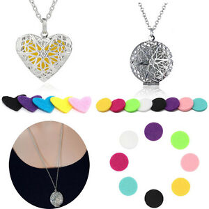 Locket Necklace Fragrance Essential Oil Aromatherapy Diffuser Pendant Gift 5pads