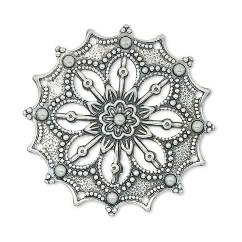 Steampunk Antique Silver Filigree Focal Pendant Beads 2 pcs