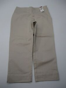 new-TOMMY-HILFIGER-Capri-Pants-Women-039-s-Size-8-Cotton-Stretch-Flat-Front-Beige