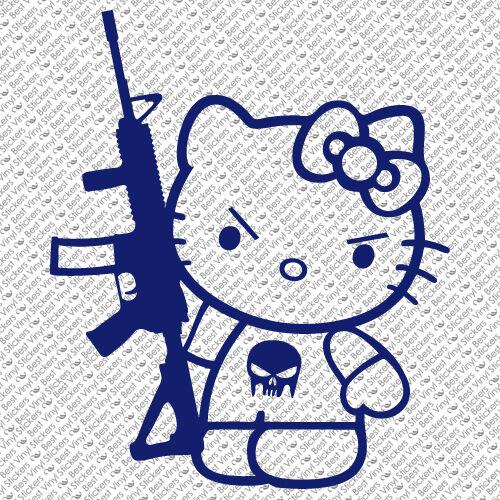 HK-18 HELLO KITTY FIGURE MACHINE GUN M-16 PUNISHER WINDOW VINYL DECAL STICKER