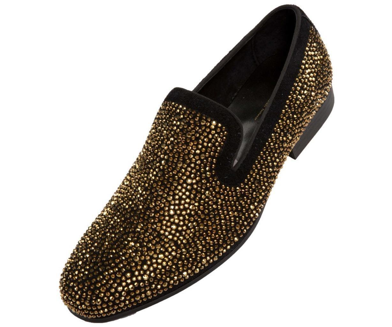 Herren Asher Grün Gold Kristallen Schwarzes Veloursleder Rauchen Slip On Schuhe    | Qualität und Verbraucher an erster Stelle