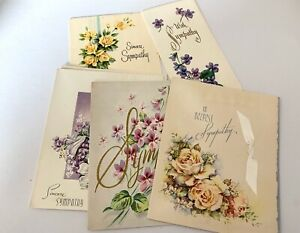 Lot-Of-6-Vintage-In-Sympathy-Greeting-Cards-Beautiful-Art-W-cursive-Doehla