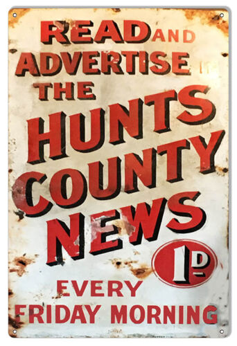 """Hunts County Newspaper Reproduction Aged Looking Nostalgic Sign 12/""""x18/"""""""