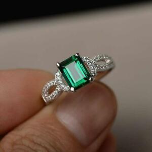 3ct-Emerald-Cut-Green-Emerald-Engagement-Ring-14k-White-Gold-Finish-Split-Band