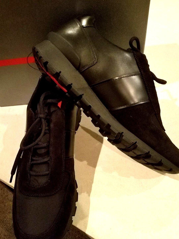 695 NEW Men's Prada Black Leather Suede Nylon Sneaker Trainer shoes US 11.5