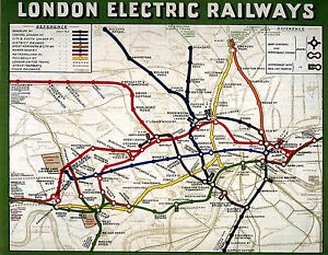 Travel Map London.Details About A3 Size Vintage London Underground Electric Railway Travel Map Art Poster