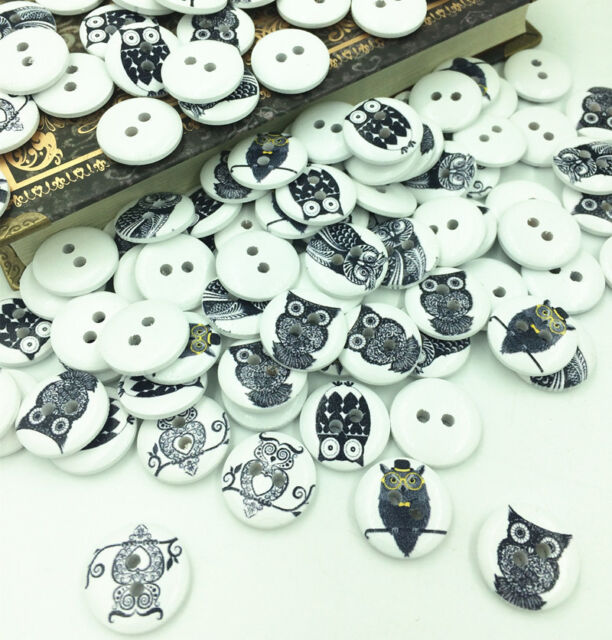 20/50/100PCS Round Wood Sewing Buttons Scrapbooking  Print Owl 18MM