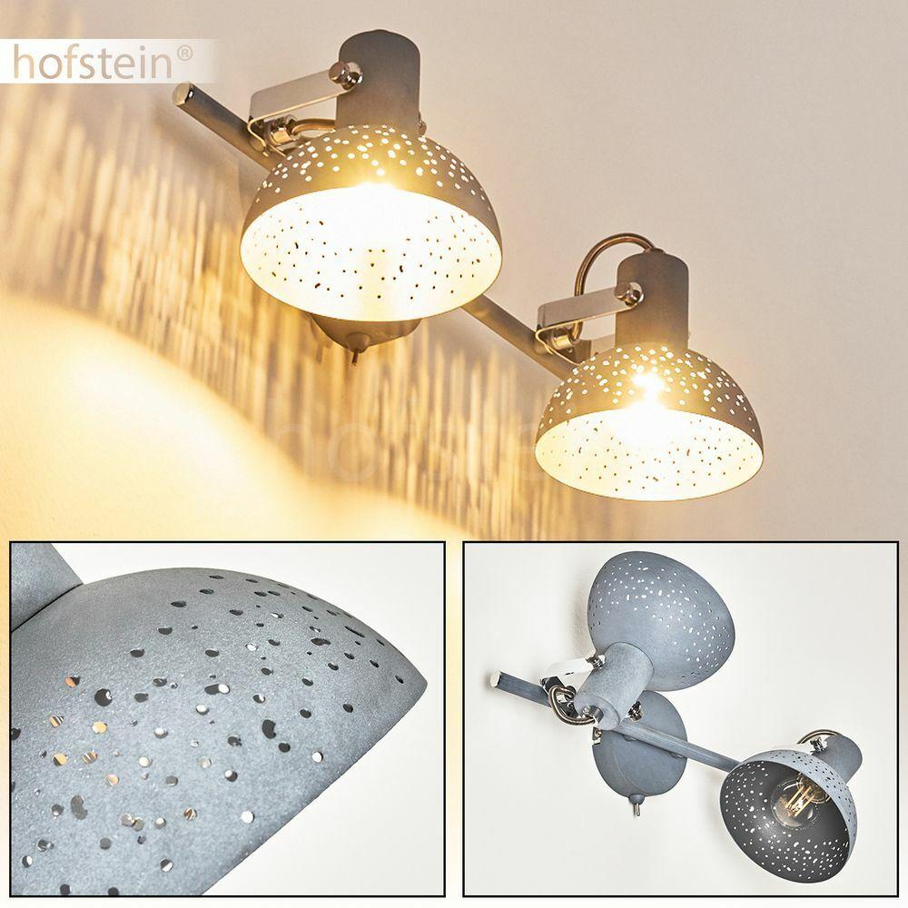 Flur Schlaf Wohn Zimmer Leuchte Wand Spot lampee Schalter grau drehbar jahrgang