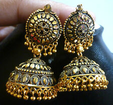 South Indian Antique Gold Plated 4 cm Long Ball Bead Drop Jhumka Earrings Set