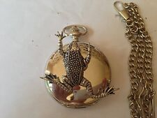 C11 Leaping Frog polished silver case mens GIFT quartz pocket watch fob