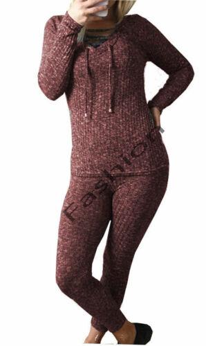 Womens Ladies Ribbed Lace up Loungewear Set Sweatshirt Joggers Tracksuit 8//14