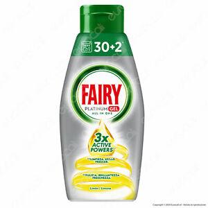 Gel Fairy Platinum Detersivo per Lavastoviglie Profumo Limone 32 Lavaggi