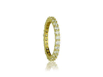 14K Yellow White Gold Half Eternity CZ Ring