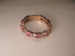 Fabulous-Antique-Estate-14K-Pink-Rose-Gold-Diamond-Sapphire-Eternity-Band-Ring
