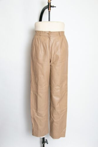 1980s Leather Pants Taupe High Waisted M